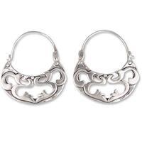 Handmade Sterling Silver 'Dancing River' Hoop Earrings (Mexico)