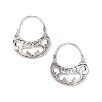 Handmade Sterling Silver Dancing River Hoop Earrings Mexico