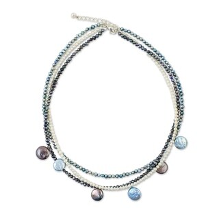 Handmade Pearl 'Sixth Blue Moon' Necklace (3-11.5 mm) (Thailand)