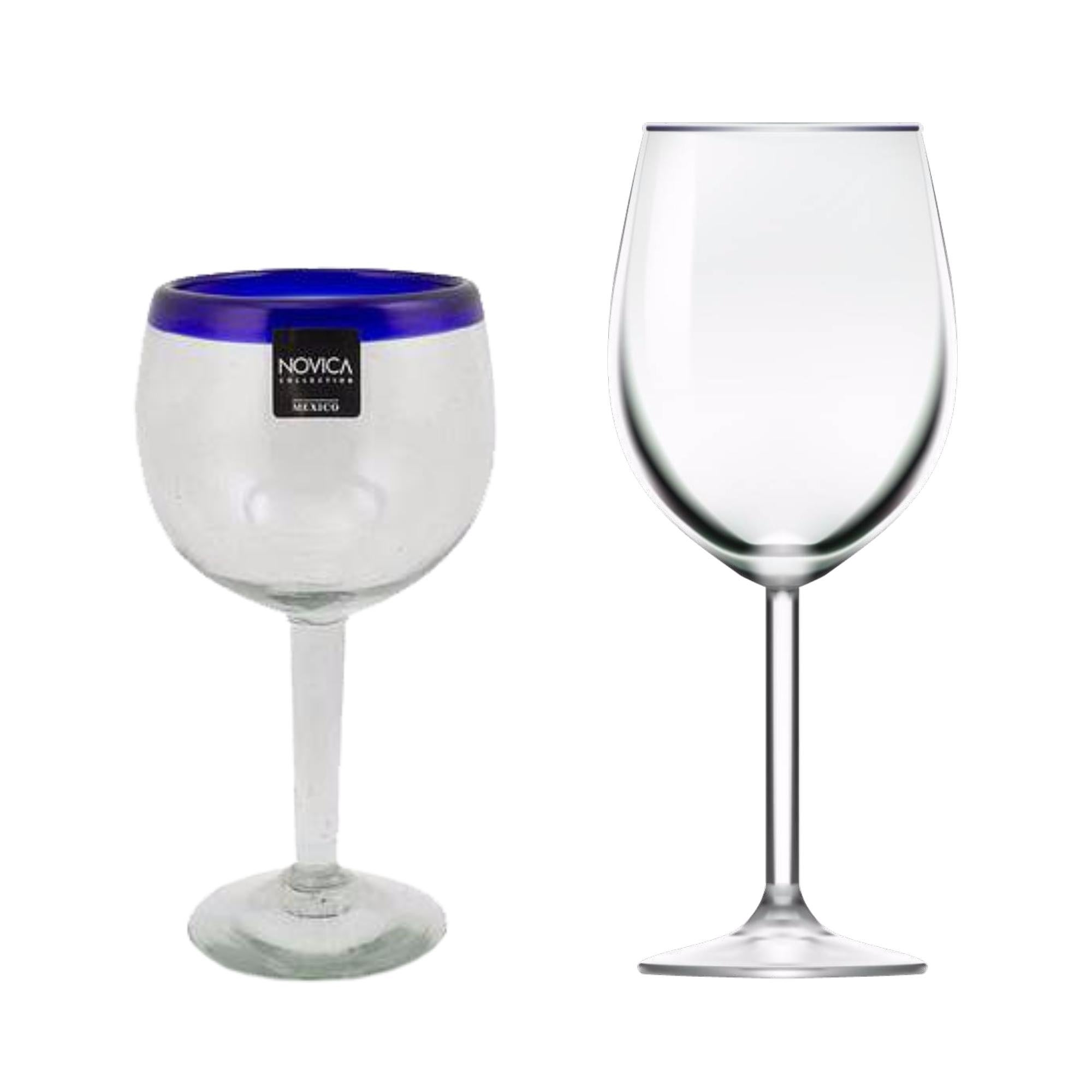 "Wine Glasses Cobalt Blue Blown Glass 18.5 oz Clear 4"" Stem Set of Four"