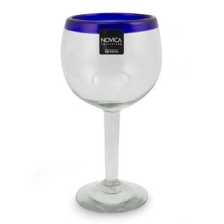 Handmade Set of 4 Blown Glass 'Sapphire Globe' Wine Glasses (Mexico)
