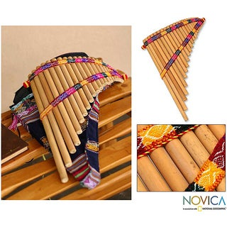 Link to Handmade Bamboo 'Andean Zampona' Panpipe (Peru) Similar Items in Woodwind Instruments