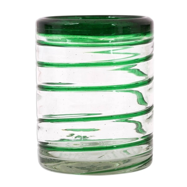 Handmade Tumblers Emerald Spiral Clear Green Coil Drinking Glasses (Mexico)