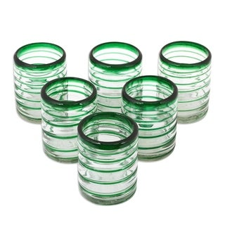 Emerald Spiral Tumblers Clear Green Coil Set of Six Barware Everyday Tableware Hostess Gift Handblown Drinking Glasses (Mexico)