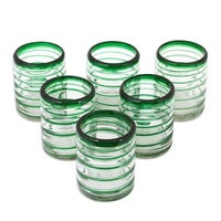 0ab1b0325fc Handmade Tumblers Emerald Spiral Clear Green Coil Drinking Glasses (Mexico)