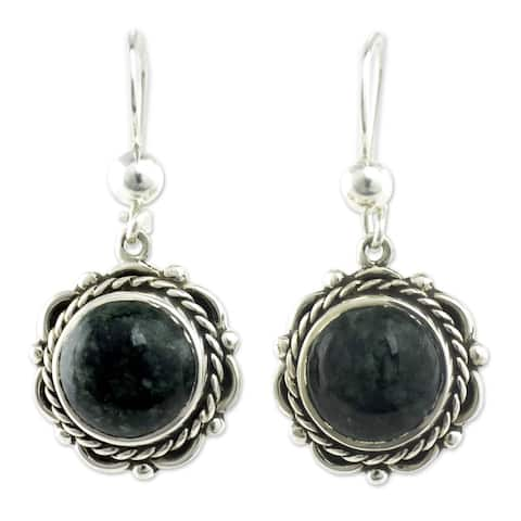 Handmade Antigua Sun Jade Sterling Silver Earrings (Guatemala)