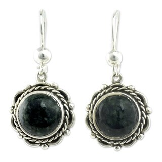 Antigua Sun Green Jade Vintage Look Romantic Colonial Style Oxidized 925 Sterling Silver Womens Dangle Earrings (Guatemala)
