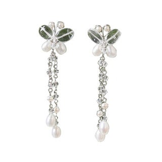 Handmade Pearl and Quartz 'Song of Summer' Earrings (4-6 mm) (Thailand)