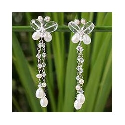 Pearl and Quartz 'Song of Summer' Earrings (4-6 mm) (Thailand)