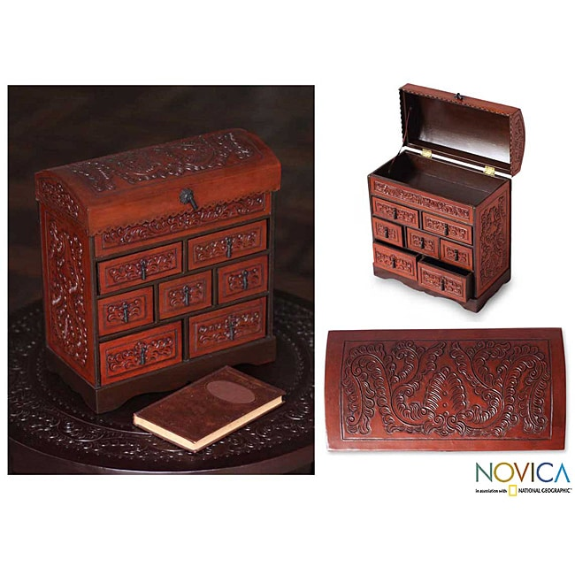 Handmade Motifs Artisan Rich Brown Polished Leather Chest Of Drawers  Jewelry Box (Peru)