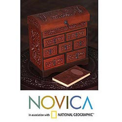 Motifs Artisan Rich Brown Polished Hand Tooled Leather Chest of Drawers Jewelry Box (Peru)