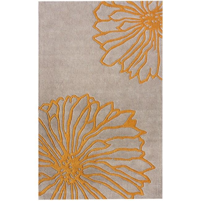 nuLOOM Handmade Floral New Zealand Wool Rug (7'6 x 9'6)