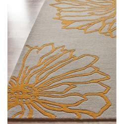 nuLOOM Handmade Floral New Zealand Wool Rug (7'6 x 9'6) - Thumbnail 1