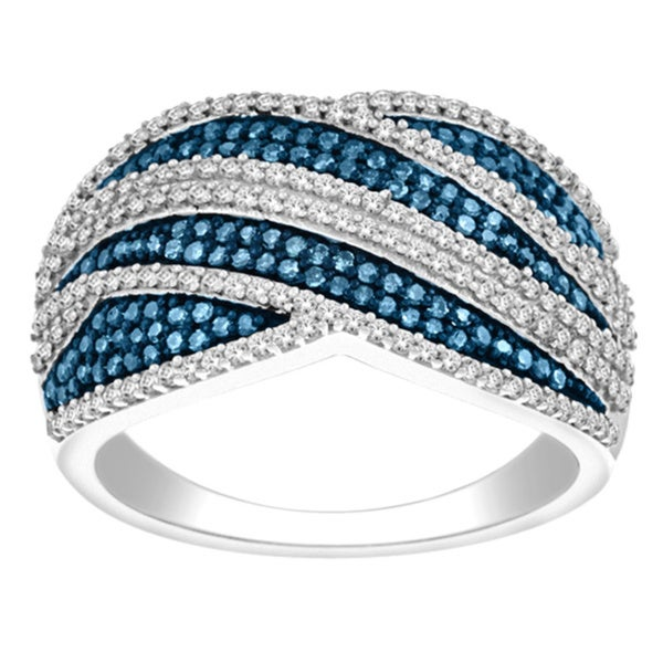 De Couer Sterling Silver 3/4ct TDW Blue and White Diamond Cocktail Ring