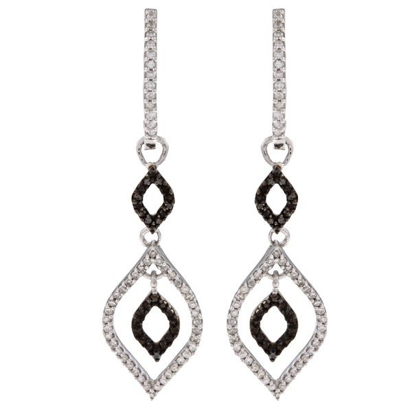 Sterling Silver 1/2ct TDW Black and White Diamond Earrings (H-I, I2)