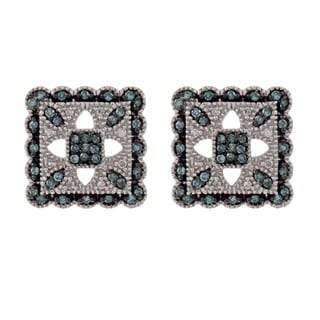 Silver 1/4ct TDW Blue and White Diamond Vintage Earrings (H-I, I2)