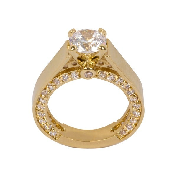 NEXTE Jewelry Large Round Center Solitaire with Accent Stones