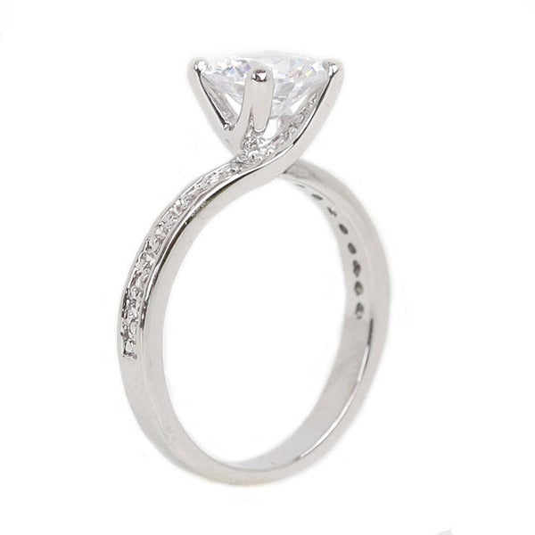NEXTE Jewelry High-polish Silvertone Prong-set Cubic Zirconia Ring