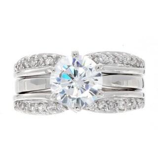 NEXTE Jewelry Silvertone Clear Cubic Zirconia Two-piece Contessa Ring Set