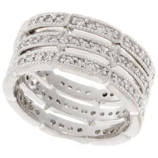 NEXTE Jewelry Silvertone Stackable Cubic Zirconia 3-piece Interlocking Band