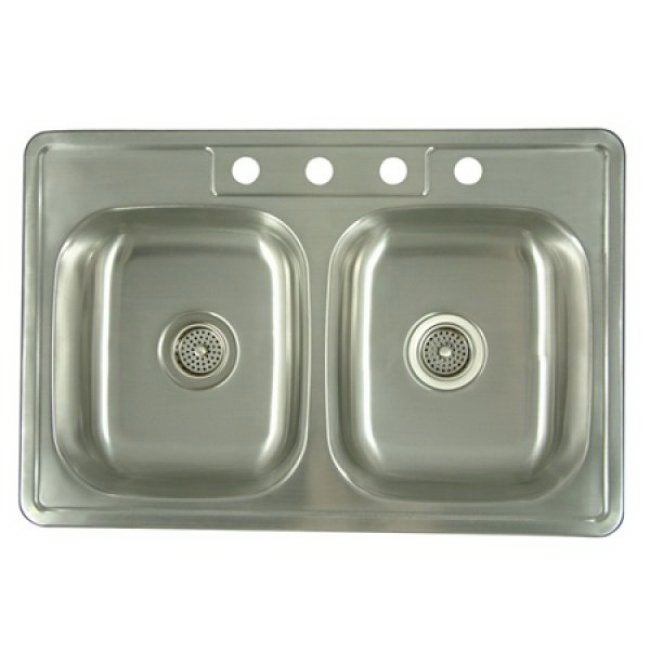 Stainless Steel 33-inch Double Bowl Kitchen Sink - Thumbnail 0