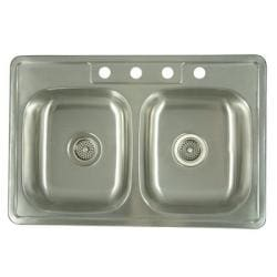 Stainless Steel 33-inch Double Bowl Kitchen Sink