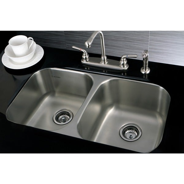 shop stainless steel 31 inch undermount double bowl 18 gauge kitchen rh overstock com blanco double bowl stainless steel undermount kitchen sink
