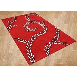 Alliyah Handmade Red New Zealand Blend Wool Rug (5' x 8') - Thumbnail 1