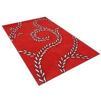 Alliyah Handmade Red New Zealand Blend Wool Rug - 5' x 8'