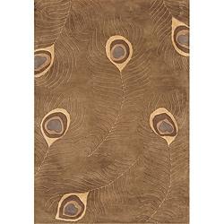 Alliyah Handmade Peacock Brown New Zealand Blend Wool Rug (4' x 6')