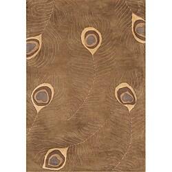 Alliyah Handmade Peacock Brown New Zealand Blend Wool Rug (4' x 6') - 4' x 6'