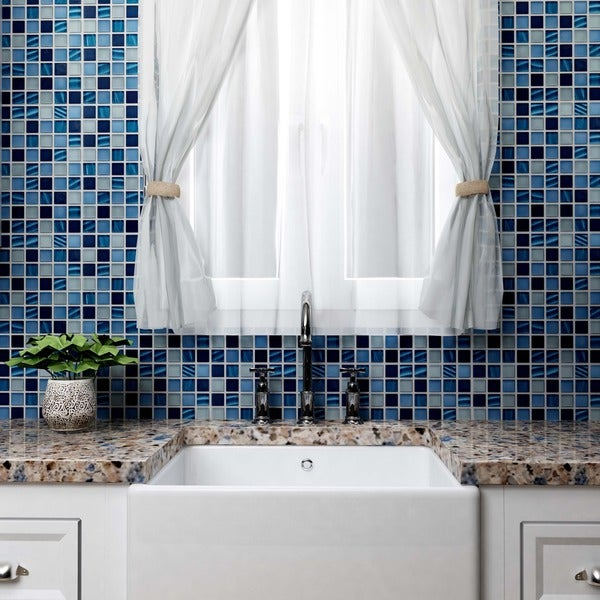 Somertile 11.75x11.75-inch Maritime Abalone Glass Mosaic Wall Tile (Case of 10)