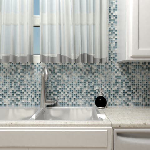 SomerTile 11.75x11.75-inch Reflections Mini Gulf Glass and Stone Mosaic Wall Tile (10 tiles/9.79 sqft.)