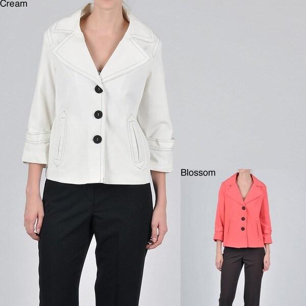 Signature by Larry Levine Women's 3/4-sleeve Jacket Pant Suit