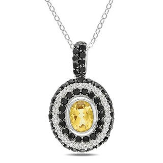 Miadora Sterling Silver 1/6ct TDW Diamond, Citrine and Spinel Necklace (G-H, I2-I3)