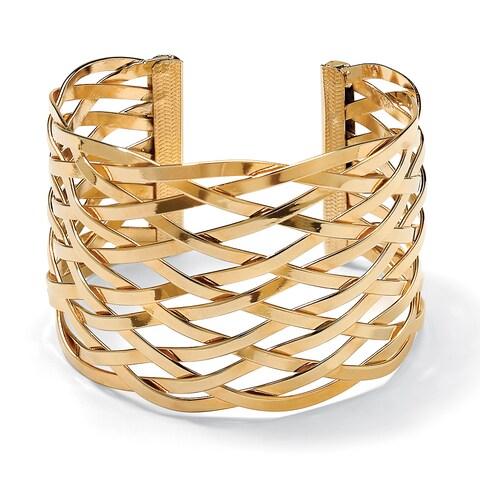 Toscana Yellow Goldplate Lattice Cuff Bracelet