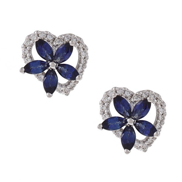 Kabella 18k White Gold Sapphire and 2/5ct TDW Diamond Earrings (H-I, SI1-SI2)