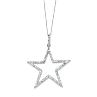 PalmBeach 1/10 TCW Round Diamond Platinum over Sterling Silver Star-Shaped Pendant and Chain 18""