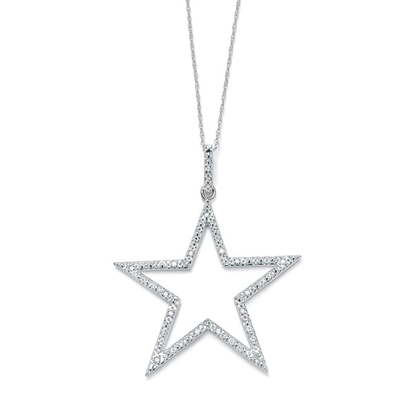 3f5775a74 1/10 TCW Round Diamond Platinum over Sterling Silver Star-Shaped Pendant  and Chain