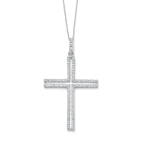 1/10 TCW Round Diamond Platinum over Sterling Silver Religious Cross Pendant and Rope Chai