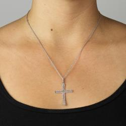 1/10 TCW Round Diamond Platinum over Sterling Silver Religious Cross Pendant and Rope Chai - Thumbnail 2