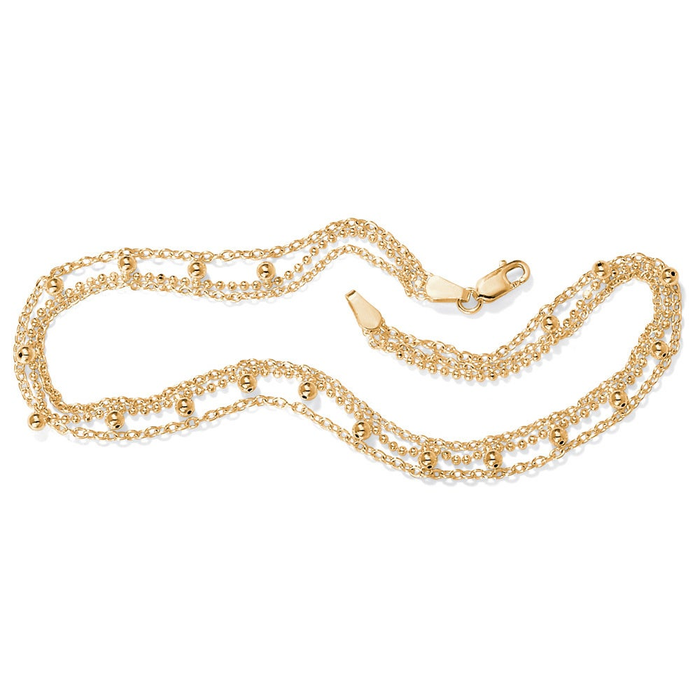 Palm Beach 18k Gold over Silver Beaded Anklet Tailored (A...