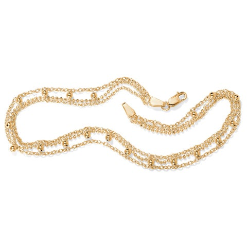 18k Gold over Silver Beaded Anklet Tailored