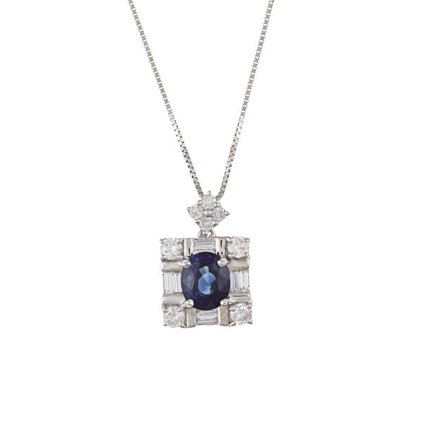 Kabella 18k White Gold Sapphire and 2/5ct TDW Diamond Necklace (H, SI1-SI20