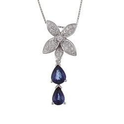 Kabella 18k White Gold Sapphire and 1/4ct TDW Diamond Necklace (H-I, SI1-SI2)