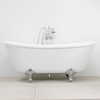 Spa Collection 67 Inch Bateau Clawfoot Tub And Faucet Pack