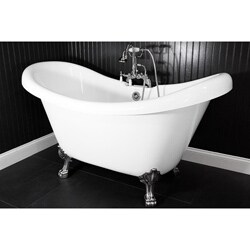 Spa Collection 73 Inch Double Slipper Clawfoot Tub And Faucet Pack