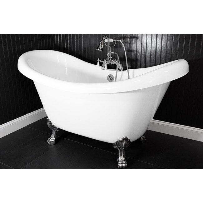 Spa Collection 59 Inch Double Slipper Clawfoot Tub And