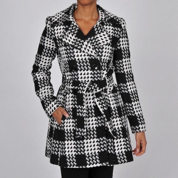 Via Spiga Women's Black/White Plaid Wool-blend Belted Trench Coat