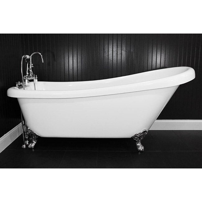 Spa Collection 73-inch Single-slipper Clawfoot Tub and Faucet Pack